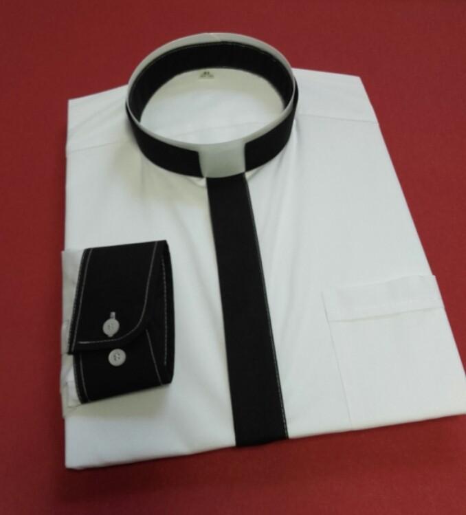 Koszula kapłańska KOLOROWA RZYMSKA czarna z długim rękawem  BmDoi